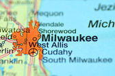 A closeup of Milwaukee, Wisconsin in the USA on a map — Stock Photo
