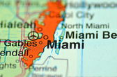 A closeup of Miami, florida in the USA on a map — ストック写真