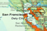 A closeup of San Francisco, California in the USA on a map — Stock Photo