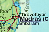 A closeup of Madras in India on a map — Stock Photo