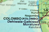 地図にスリランカのコロンボのクローズ アップ — ストック写真