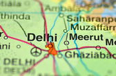 A closeup of Delhi in India on a map — Stock Photo