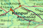 A closeup of Kanpur in India on a map — Stock Photo