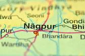 Un gros plan de nagpur en Inde sur une carte — Photo