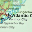A closeup of Atlantic City, New Jersey in the USA on a map — Stock Photo #39656573