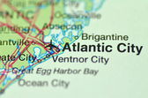 A closeup of Atlantic City, New Jersey in the USA on a map — Stock Photo