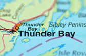 A closeup of Thunder Bay, Ontario in Canada on a map — Stock fotografie
