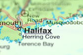 A closeup of Halifax, New Scotland in Canada on a map — Stockfoto