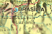 A closeup of Brasilia in Brazil in south America on the map — Stock Photo