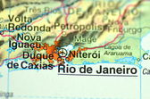 A closeup of Rio de Janeiro in Brazil in south America on the map — Zdjęcie stockowe