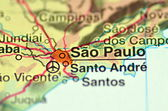 A closeup of Sao Paulo in Brazil in south America on the map — Stock fotografie