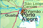 A closeup of Porto Alegre in Brazil in south America on the map — Stock Photo