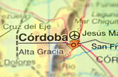 A closeup of Cordoba in Argentina, south America, on a map — Stock Photo