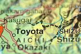 地図に日本のトヨタのクローズ アップ — ストック写真