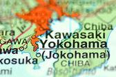 A closeup of Yokohama in Japan on a map — Stock Photo