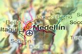 Een close-up van medellin in colombia, Zuid-Amerika op een kaart — Stockfoto