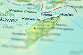 A closeup of Rodos island, Greece on a map — Stock Photo