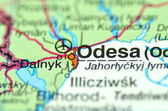 A closeup of Odesa in Ukraine on a map — Stock Photo