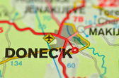 A closeup of Donetsk in Ukraine on a map — Stock Photo