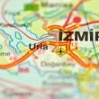 Closeup of Izmir in Turkey on map — Stock Photo #39791691