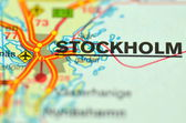 A closeup of Stockholm in Sweden on a map — Stock Photo