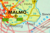 A closeup of Malmo in Sweden on a map — Stock Photo
