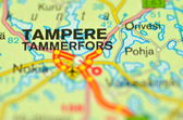 A closeup of Tampere in Finland on a map — Stock Photo