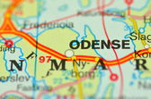 A closeup of Odense in Denmark on a map — Stock Photo