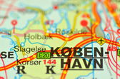 A closeup of Copenhagen in Denmark on a map — Stock Photo