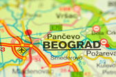 A closeup of Belgrade in Serbia on a map — Stock Photo