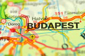 A closeup of Budapest in Hungary on a map — Stock Photo