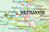 A closeup of Reykjavik in Iceland on a map — Stock Photo
