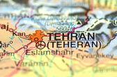 A closeup of Tehran in Iran on a map — Stock Photo