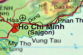A closeup of Ho Chi Minh in Vietnam on a map — Stock Photo