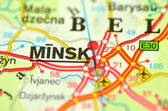 Closeup of Minsk in Belarus on a map — Stock Photo