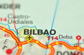 A closeup of Bilbao in Spain on a map — Photo