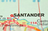 A closeup of Santander in Spain on a map — Stockfoto
