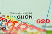 A closeup of Gijon in Spain on a map — Stock Photo