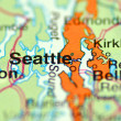 Stock Photo: Closeup of Seattle, Washington in USon map