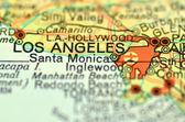 A closeup of Los Angeles, California in the USA on a map — Stock Photo