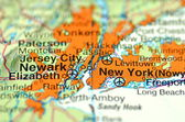A closeup of New York in the USA on a map — Stock Photo