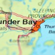 Stock Photo: Closeup of Thunder Bay, Ontario in Canadon map