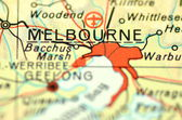 A closeup of Melbourne, Victoria in Australia on a map — 图库照片