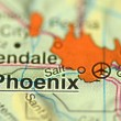 A closeup of Phoenix, Arizona in the USA on a map — Stock Photo #40253481