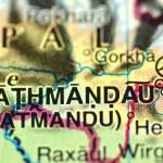 A closeup of Kathmandu in Nepal on a map — Stock Photo #40259077