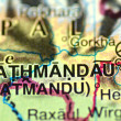 A closeup of Kathmandu in Nepal on a map — Stock Photo
