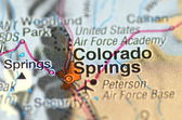 A closeup of Colorado Springs in the USA on a map — ストック写真