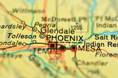 A closeup of Phoenix, Arizona in the USA on a map — Stock Photo