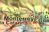 A closeup of Monterrey in Mexico on a map — Stock Photo