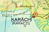 A closeup of Karachi, Sindh in Pakistan on a map — Stock Photo